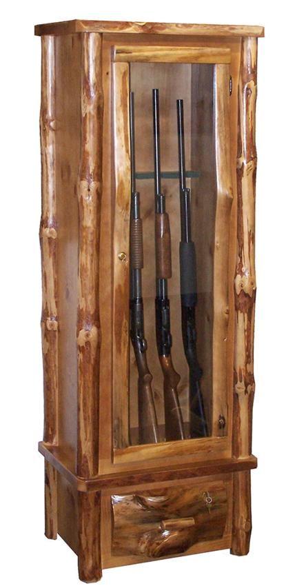 amish rustic pine log six gun cabinet