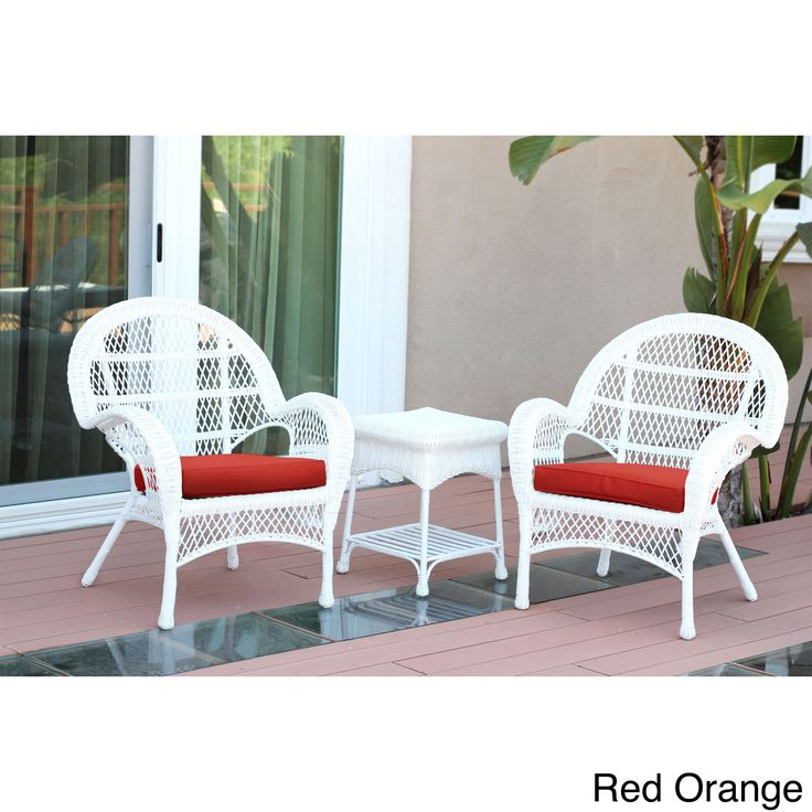Jeco Santa Maria White Wicker Chair And End Table Set With Cushions  (Orange), Patio Furniture Part 82
