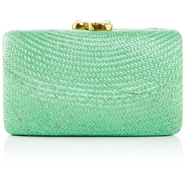 KAYU Jen Minaudiere ($180) ❤ liked on Polyvore featuring bags, handbags, clutches, mint handbags, straw clutches, green handbags, zipper purse and mint purse