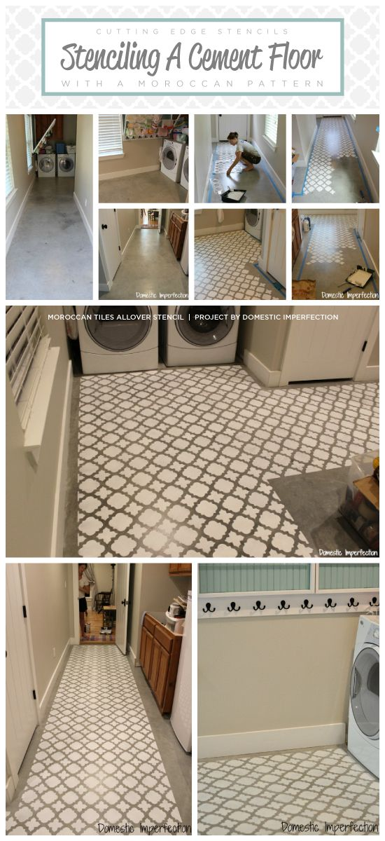 A DIY stenciled cement floor in a laundry room using the Moroccan Tiles pattern. http://www.cuttingedgestencils.com/moroccan-tiles-wall-pattern.html  #stenciling #laundryroom #cementfloor