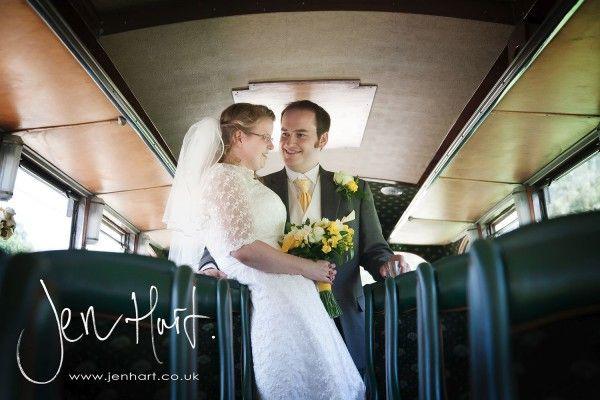 1940s vintage bus as the wedding car. Bride and Groom. Photoraphy.