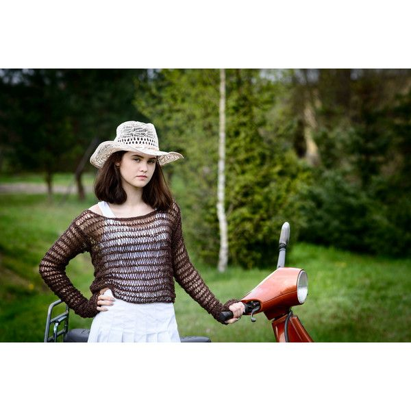Summer sweater/loose knit sweater/lightweight Grunge shrug/chocolate... (235 PLN) via Polyvore featuring tops, sweaters, knit sweater, loose sweater, summer tops, green sweater i shrug sweater