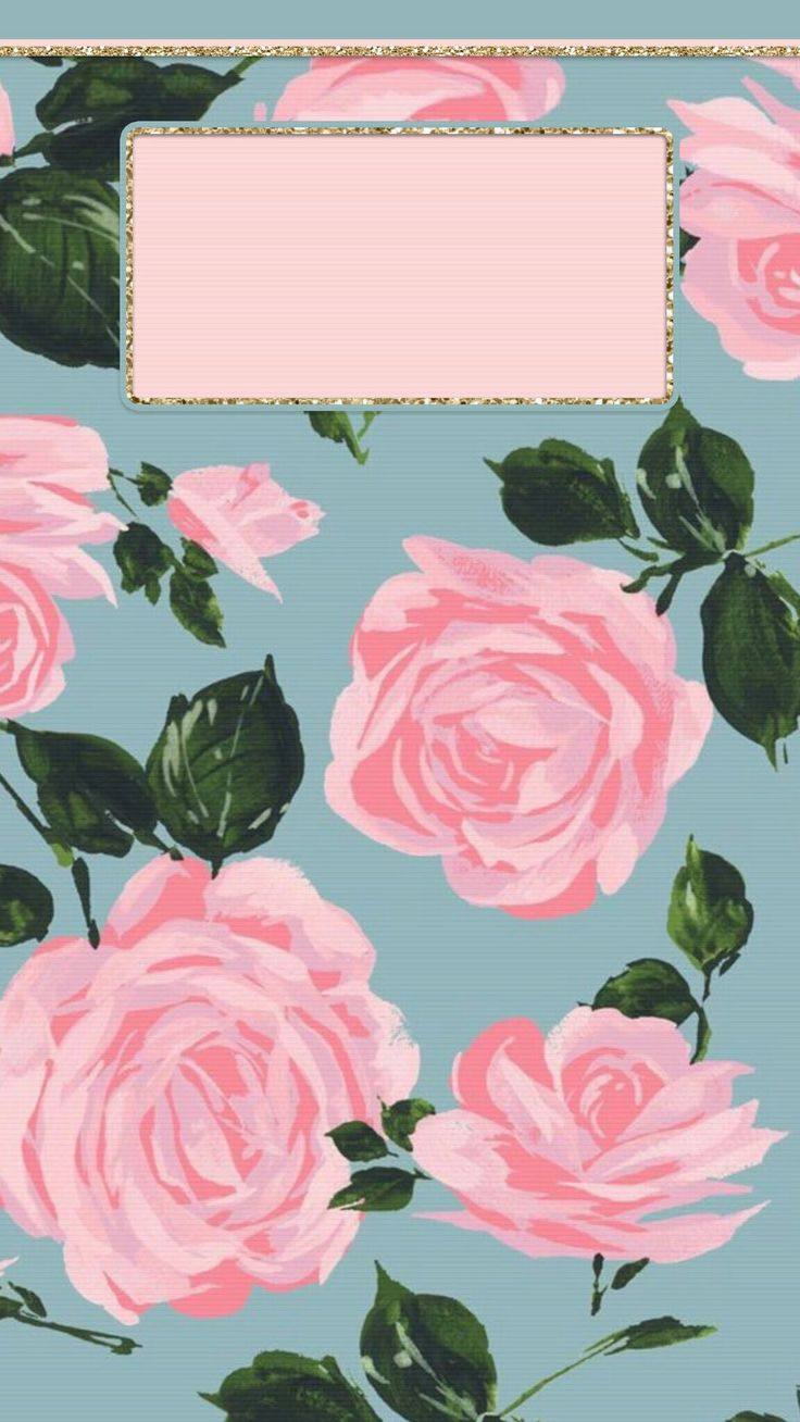 Pink roses with blue background on iPhone lock screen