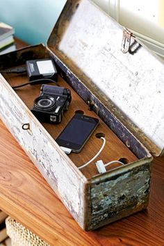 32 Home Projects Under $20 | Midwest Living Charging station Drill a hole into the back of an antique box or chest. Insert a power strip then cover it with a wood shelf with holes for charging cords. Shut the lid when you want to conceal the functional aspect.