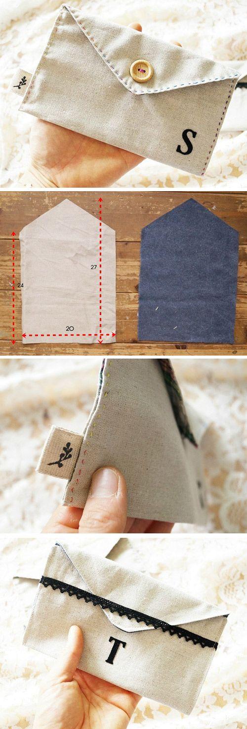 Travel Wallet, Money Envelopes, Cash Envelopes, Budget Envelope, Fabric Wallet.  Pretty Fabric Envelopes to hold gift cards tutorial.  http://www.handmadiya.com/2016/10/money-holder-fabric-envelope-diy.html