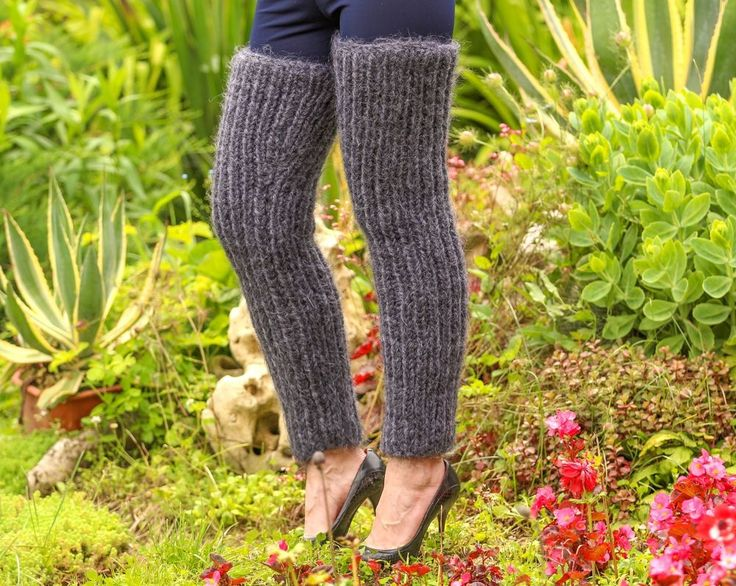 SUPERTANYA grey hand knitted mohair spats leggings fuzzy GAITERS leg warmers #SUPERTANYA #Casual