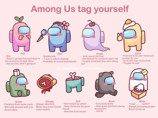 Made An Cute Among Us Tag Yourself I Hope Y All Enjoy It Amongus Funny Memes Really Funny Memes Cute Drawings