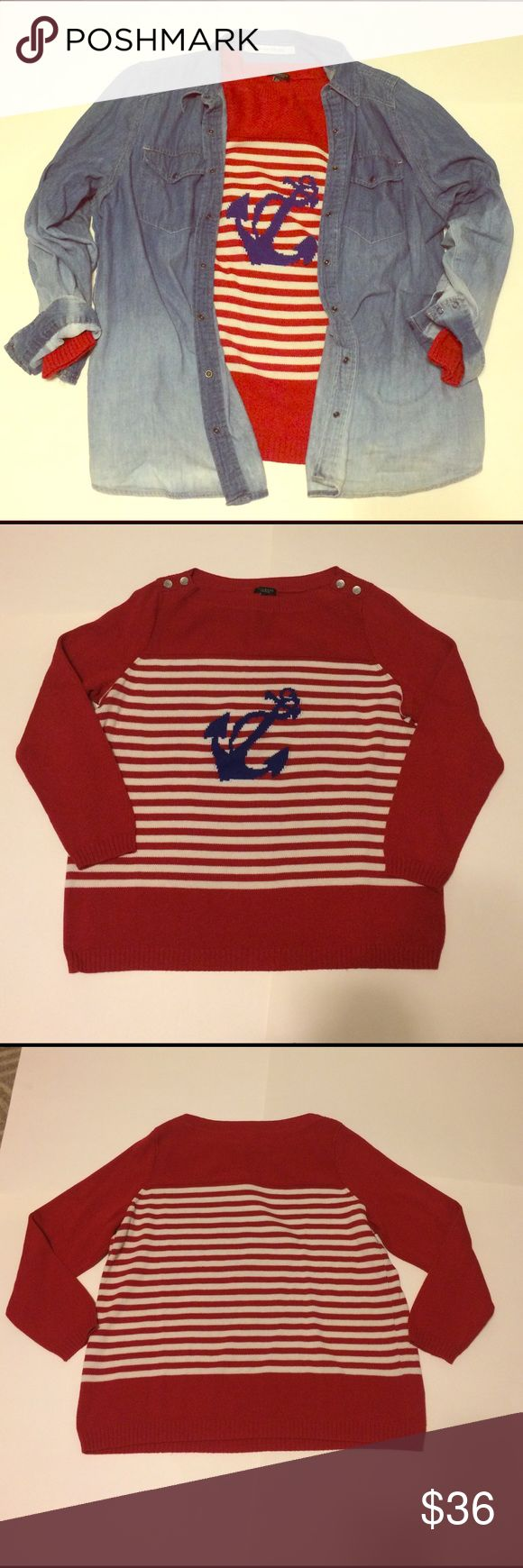 Talbots Woman Petite Anchor Sweater🐟 Perfect for right now! This red and white striped sweater has a royal blue anchor in the middle and buttons on the shoulders! 60% cotton, 40% Acrylic. This is a 2X Petite!! ✨if you have any questions please ask!✨ Talbots Sweaters Crew & Scoop Necks