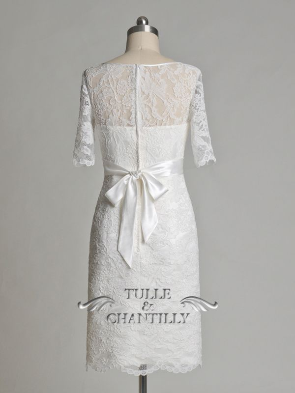Custom Made Wedding, Prom, Evening Dresses Online | Tulle & Chantilly Unique Illusion Neck Short Soft Lace Wedding Gown With Sleeves [TBQW115] - Fabric: Lace, Satin Color: Ivory Neckline:Bateau Silhouette:Sheath Length: Knee length Train: No Waistline: Empire Back: Zipper
