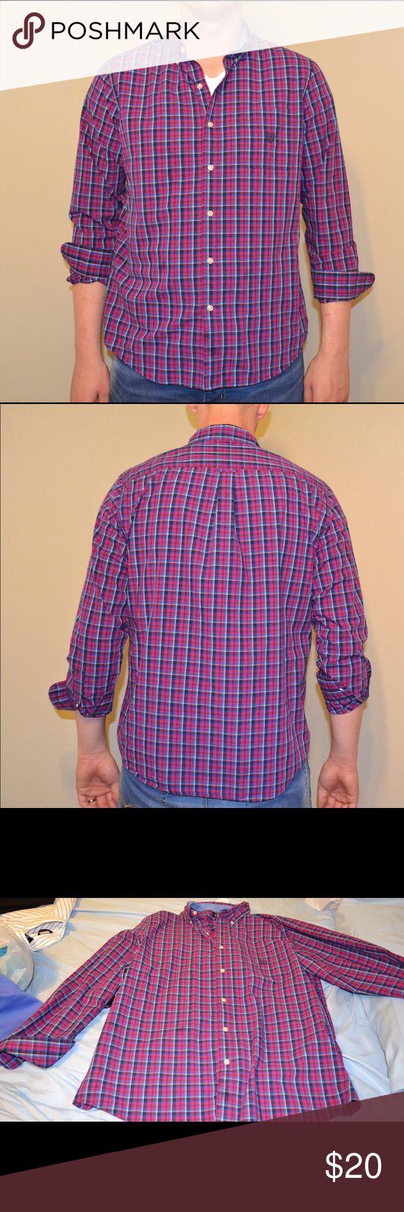 Men's Chaps Plaid Button Down Practically new men's Chaps plaid button down in purple/blue. Chaps Shirts Casual Button Down Shirts