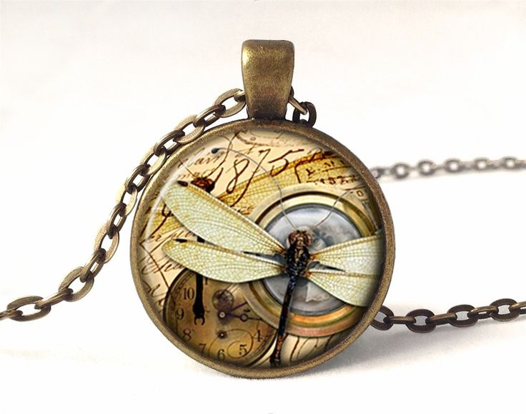 Dragonfly Necklace, Vintage Pendant, 0587PB from EgginEgg by DaWanda.com
