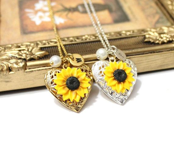 Sunflower Heart locket necklace Personalized Initial Disc