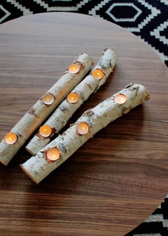 You can find these birch logs at Michael's but I bet with some searching, I could find something that work myself. These birch log tea light holders would look amazing at a winter wedding.