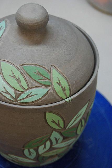thrown lidded pot, sgraffito