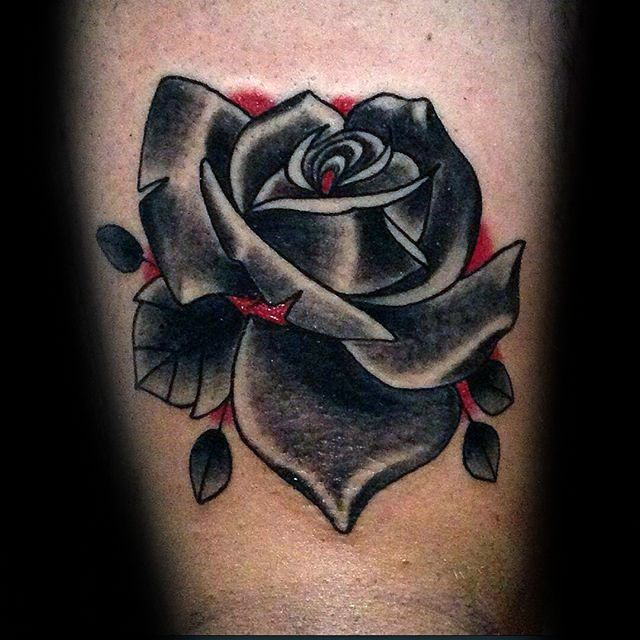 Red And Black Rose Mens Arm Tattoos