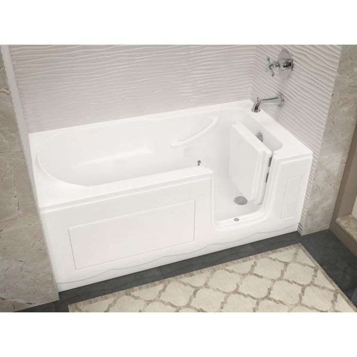 Universal Tubs Hd Series 60 In Right Drain Step In Walk In Soaking Bath Tub With Low Entry Threshold In White Hdsi3060rws The Home Depot Walk In Tub Shower Soaking Tub Shower Combo