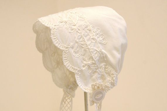 Ivory Ebroidered Baby Bonnet --Baby girl summer bonnet, Christening, infant photo prop, white cotton bonnet, baby girl shower gift, ecru hat