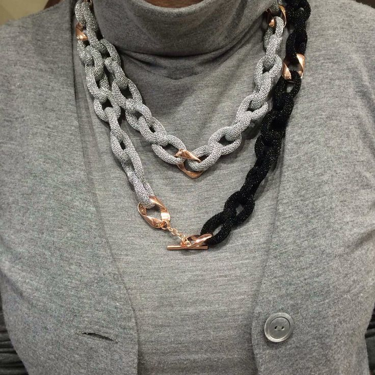 Adami&Martucci silver black mesh neckless at our store!