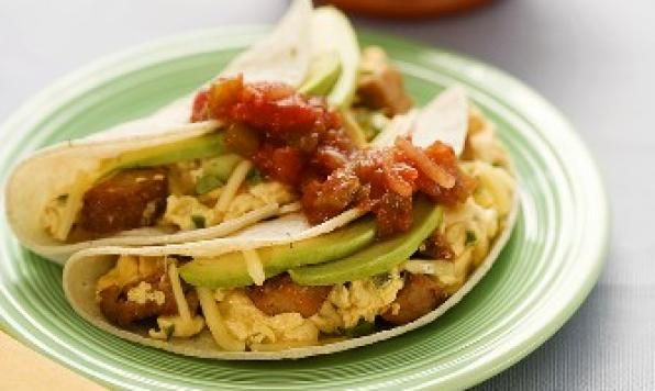 ... taco using fully cooked sausage, scrambled eggs and creamy avocado