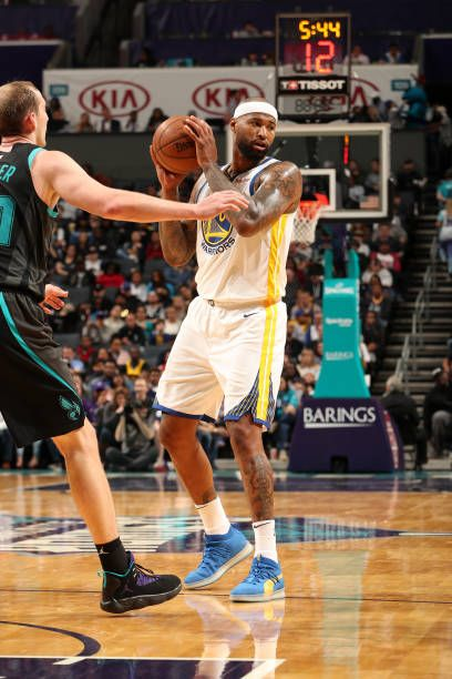 94272ce01 DeMarcus Cousins of the Golden State Warriors handles the ball against the  Charlotte Hornets on February 25 2019 at Spectrum Center in Charlotte.