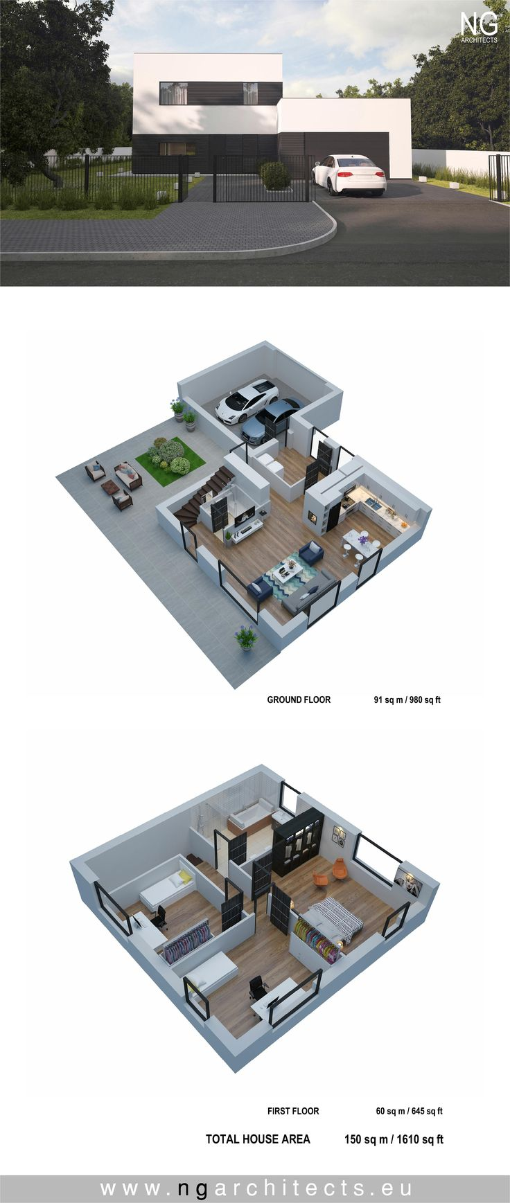 modern house plan Cube designed by NG
