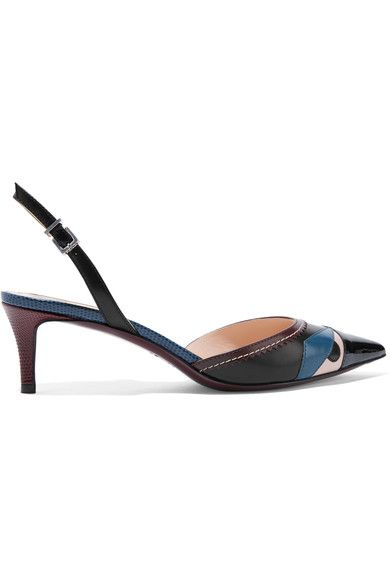 Fendi - Bag Bug Appliquéd Leather Pumps - Black - IT37.5