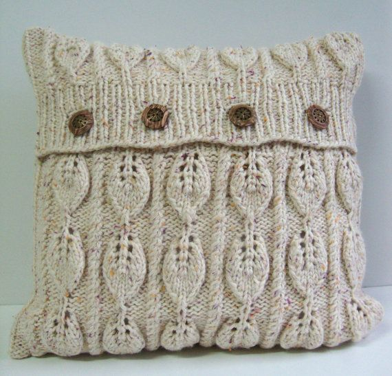 Hand Knitted Pillow. Leaves designs, exclusive by DubrasenHome