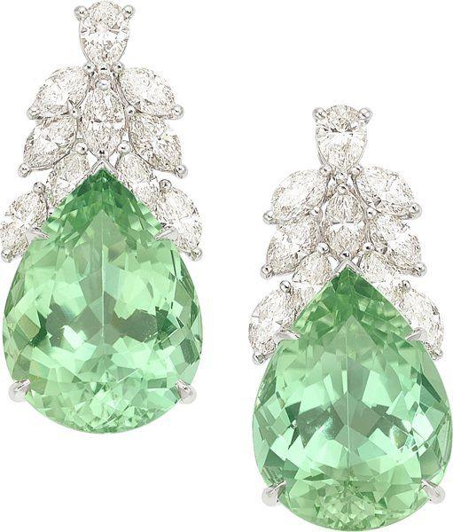 Estate Jewelry:Earrings, Tourmaline, Diamond, Platinum Earrings, Tiffany & Co.. ...(Total: 2 Items)