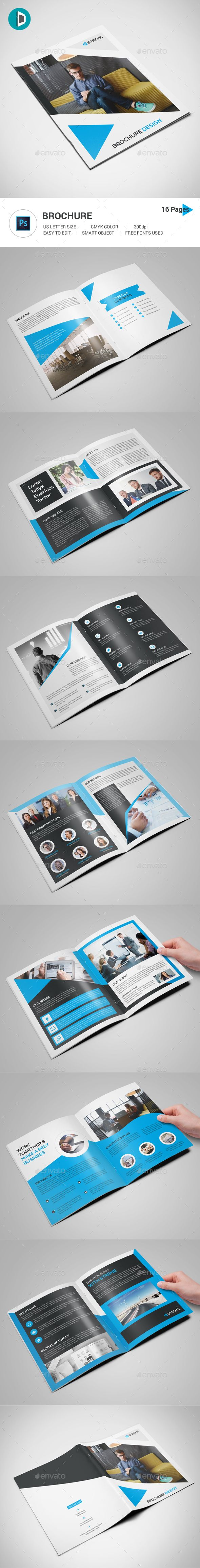 16 Pages Brochure Template PSD - US Letter Size