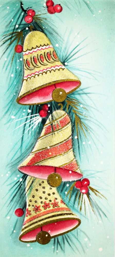 1950's Gibson Three Gold & Pink Bells Glitter Turquoise Vintage Christmas Card