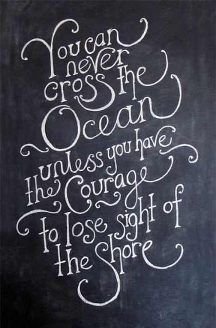 you can never cross the ocean unless you have the courage to lose sight of the shore....I LOVE this!  #takeachance