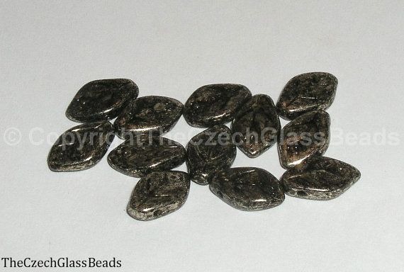12pcs PRESSED BEADS LEAVES 12X7mm by TheCzechGlassBeads on Etsy