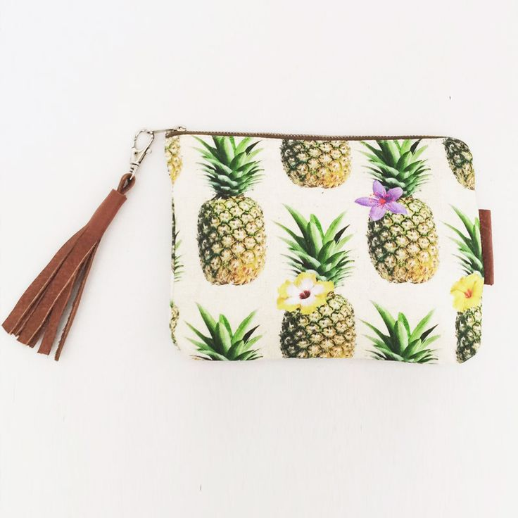 Pineapple print accessory bag with leather tassel detail