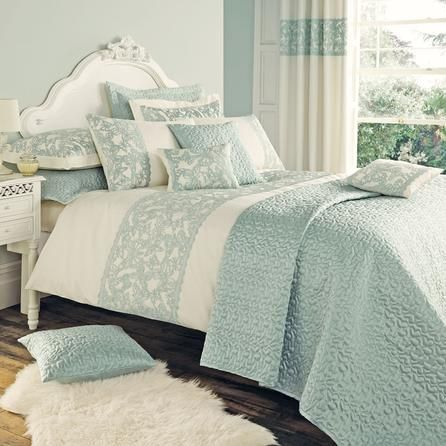 Duck Egg Evie Butterfly Collection Duvet Cover | Dunelm..... Why can't I find anything this colour and a little less girly for my sons room??