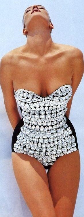 Dolce & Gabbana crystal sequin beaded black one piece swimsuit beach