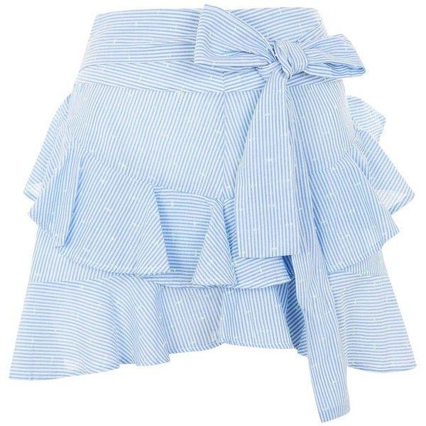 Topshop Petite Dobby Ruffle Mini Skirt ($41) ❤ liked on Polyvore featuring skirts, mini skirts, topshop, blue, short frilly skirt, flounce skirt, mini skirt, frilly skirt and ruffled skirts