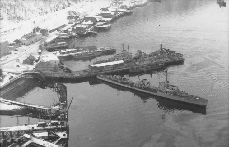 German destroyers in Narvik Harbor, Norway, 1940. - My uncle, aged 20, died during the Narvik campaign