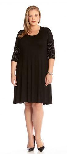 PLUS SIZE DRESSES LBD BLACK 3/4 SLEEVE EMBELLISHED CUFF DRESS FASHION #Plus #Size  #Dresses #LBD #Silver #Crystal #Embellished #Fashion #Party_Dresses #Plus_Size_Dresses