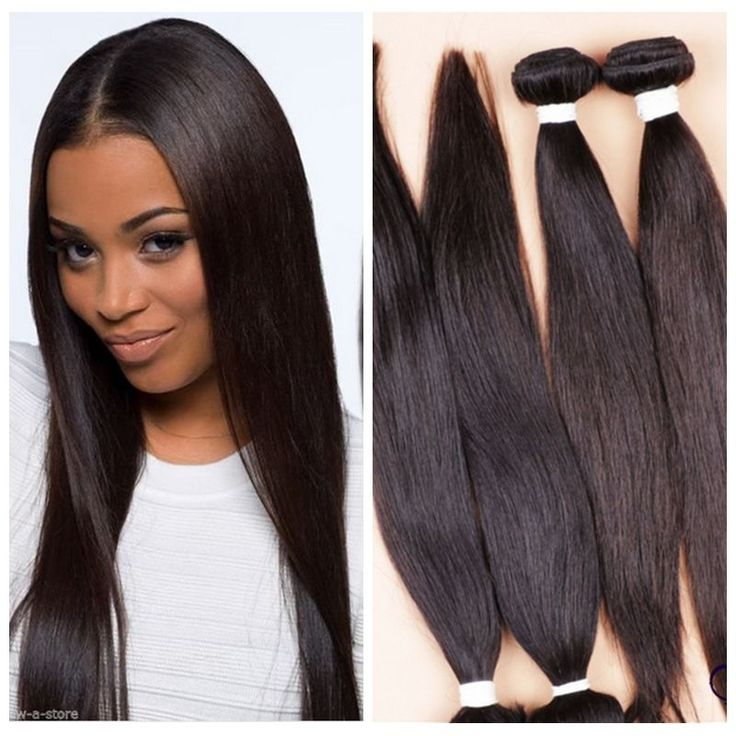 4 Bundles Remy Virgin Brazilian Straight Human Hair Weave Extensions 200g Weft…
