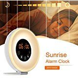 AK1980 Alarm Clock with Wake-up Light Sunrise Simulation and FM Radio Function for Kids Teens Aged Sportsman Worker Heavy Sleepers