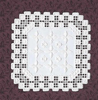 "Finished size 11-1/2"". Kit includes ivory Hardanger fabric (22 count), ivory pearl cotton, needle and complete instructions."