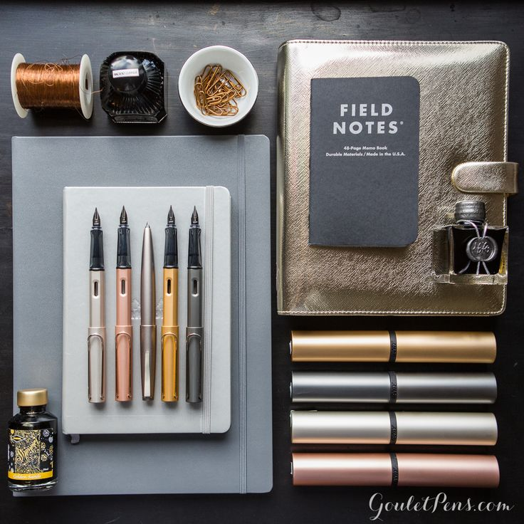 Lamy LX collection and Lamy 2000 Black Amber featured in a knolling flat lay of fountain pens, notebooks, and ink.