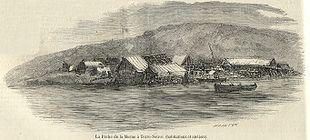 La pêche de la morue à Terre-Neuve en 1858 : habitations et ateliers. http://fr.wikipedia.org/wiki/Terre-neuvas