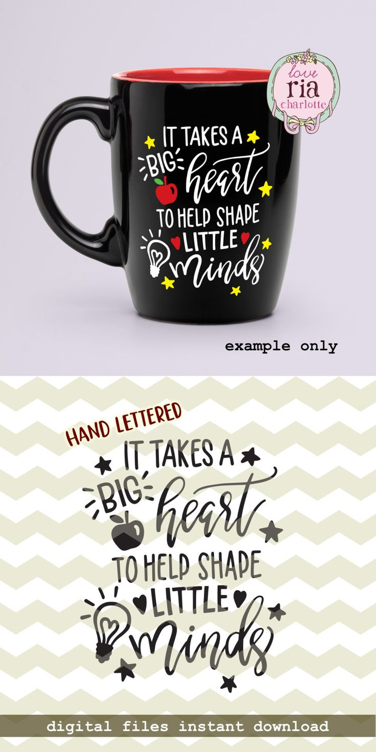It takes a big heart to help shape little minds, teachers day quote digital cut files, SVG, DXF studio3 for cricut, silhouette cameo, decals by LoveRiaCharlotte on Etsy