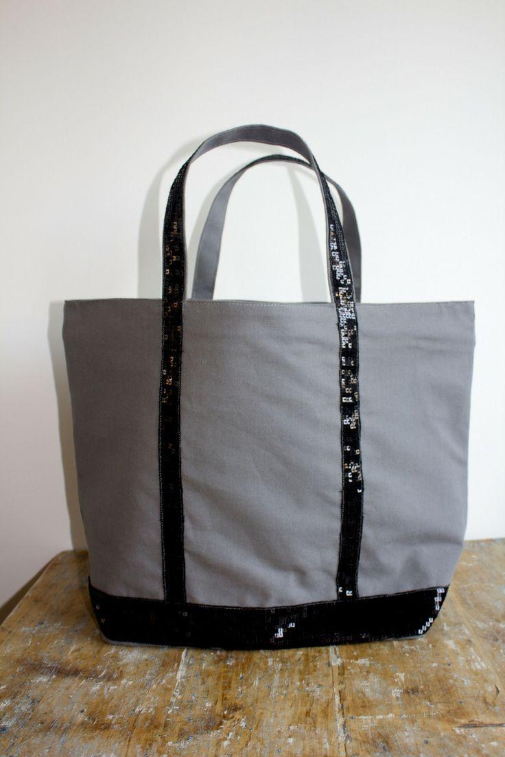 Sac à main / Cabas gris à paillettes noires : Sacs à main par by-vanessa