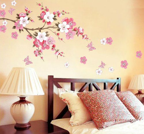 Wall decor removable decal sticker cherry blossoms tree for Cherry blossom wall mural stencil
