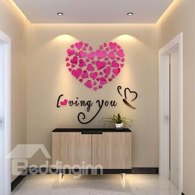 Captivating Heart Shape And Loving You Mirror Acrylic 3D Wall Sticker Nice Design