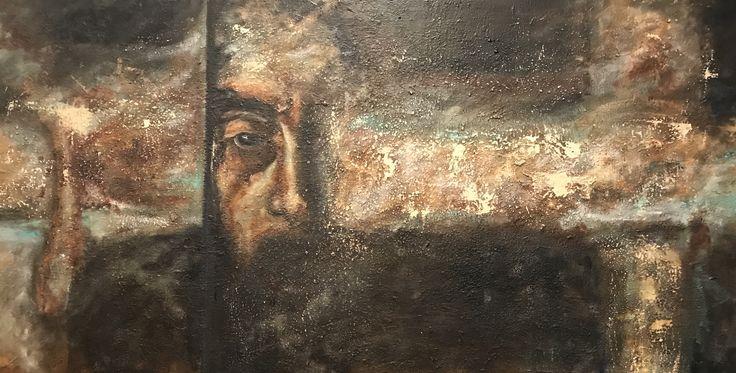 """Glimpse, oil & wax on acrylic on canvas 30""""x60"""""""