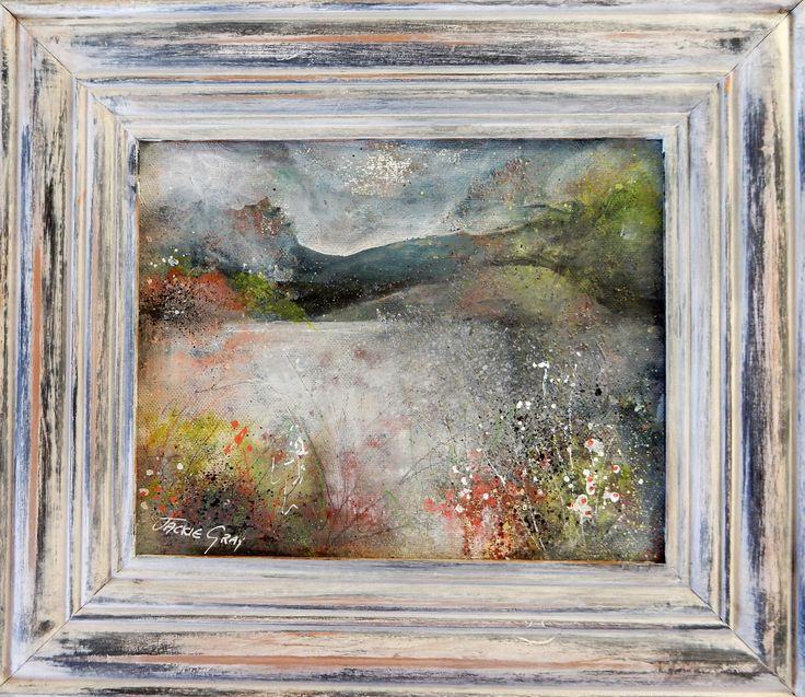 Landscape painting art semi abstract mixed media acrylic.