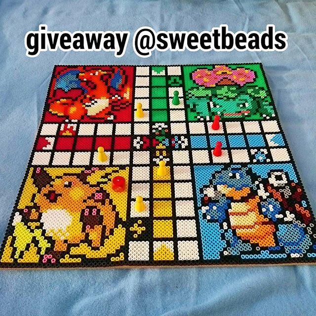 Pokemon ludo game perler beads by sweetbeads (38x38 cm)